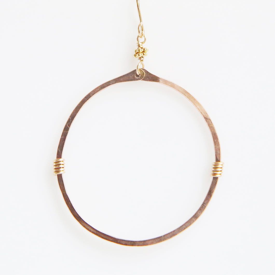Haley Open Frame Round Drop Earrings in Rose Gold