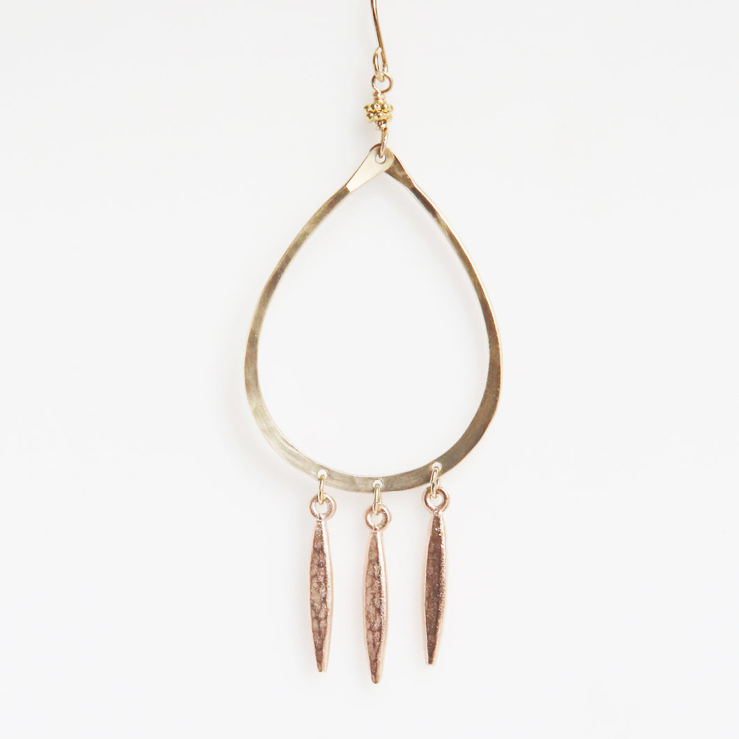 Haley Open Frame Chandelier Drop Earrings in Rose Gold