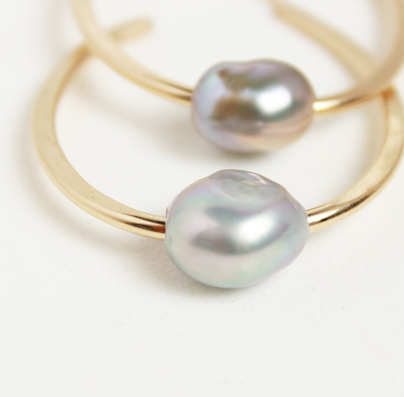 Haley Pearl Oval Hoop Earrings in Gold