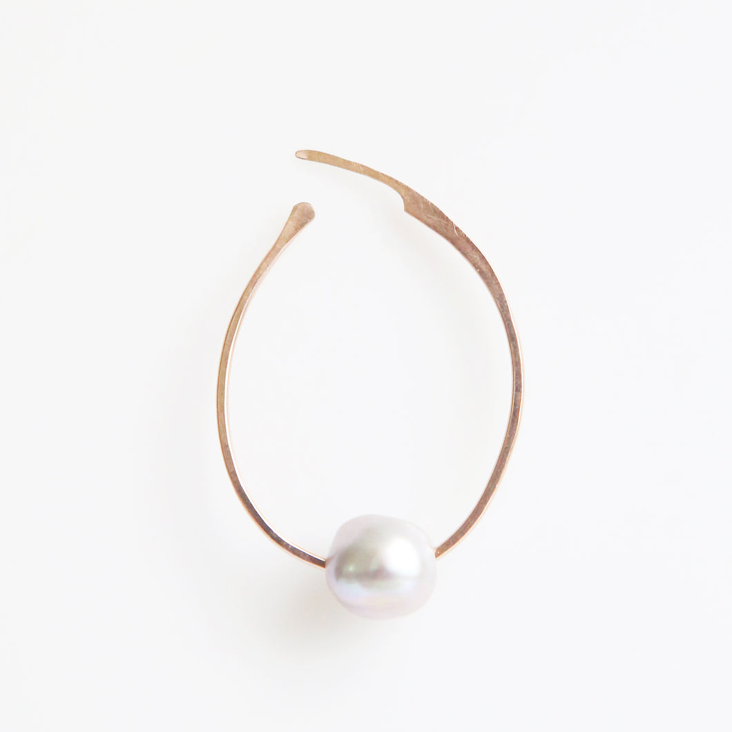Haley Pearl Oval Hoop Earrings in Rose Gold