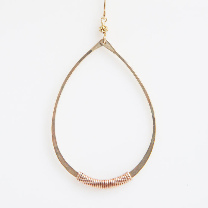 Haley Open Frame Oval Drop Earrings in Rose Gold