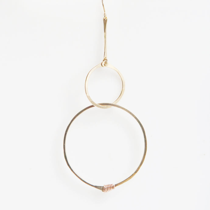 Haley Double Round Drop Earrings in Rose Gold