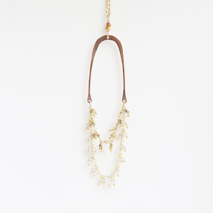 Haley Gemstone Necklace in Rose Gold