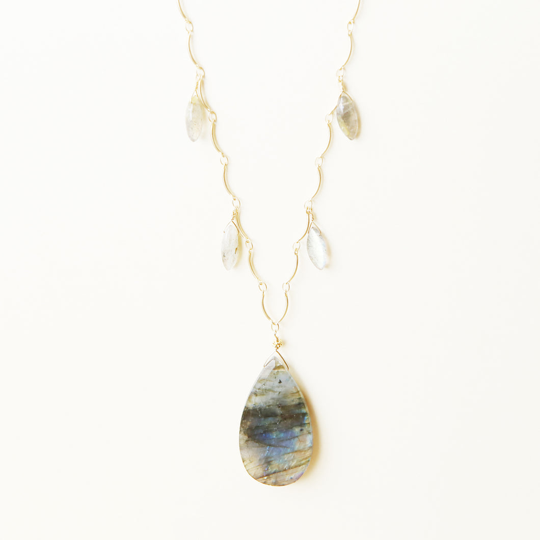 Long Labradorite Drop Pendant Necklace