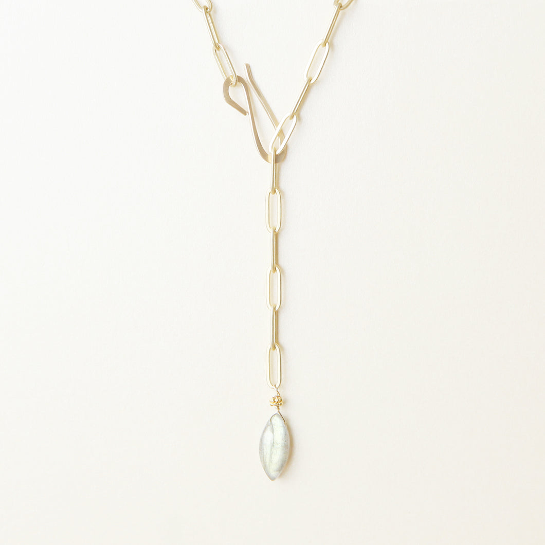 Adjustable Labradorite Drop Necklace 36''
