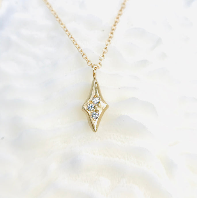 Tri-Star Diamond Delicate Necklace