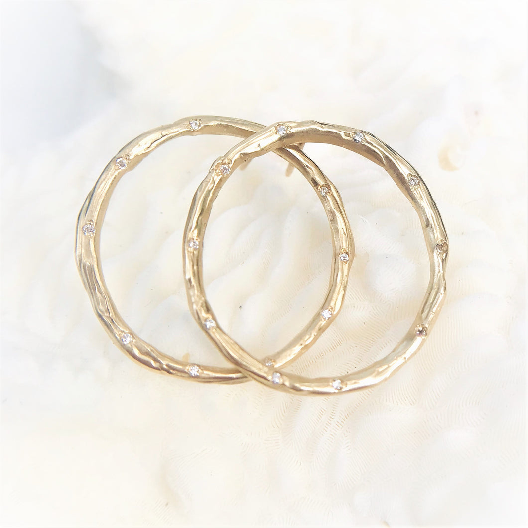 Diamond Circle Earrings - Large