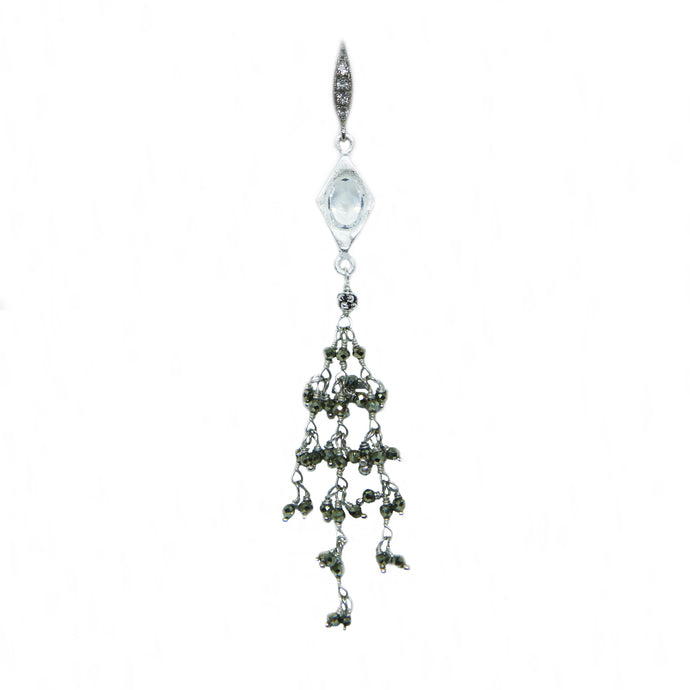 Silver Pyrite Chandelier Earrings