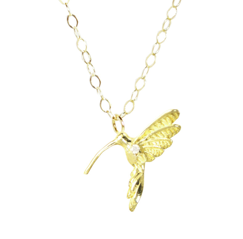 Delicate Hummingbird with Diamond Necklace
