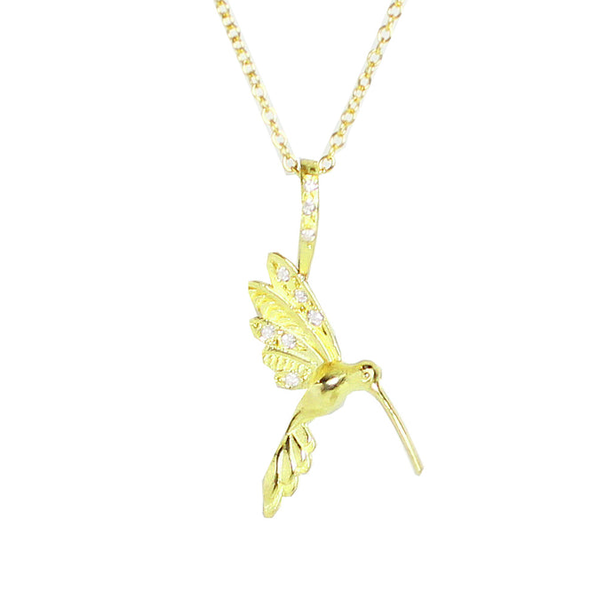 Medium Hummingbird Necklace with Diamond Bail