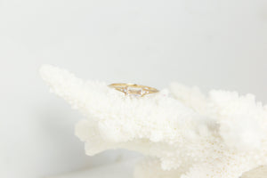 Moonstone Diamond Baguette Ring