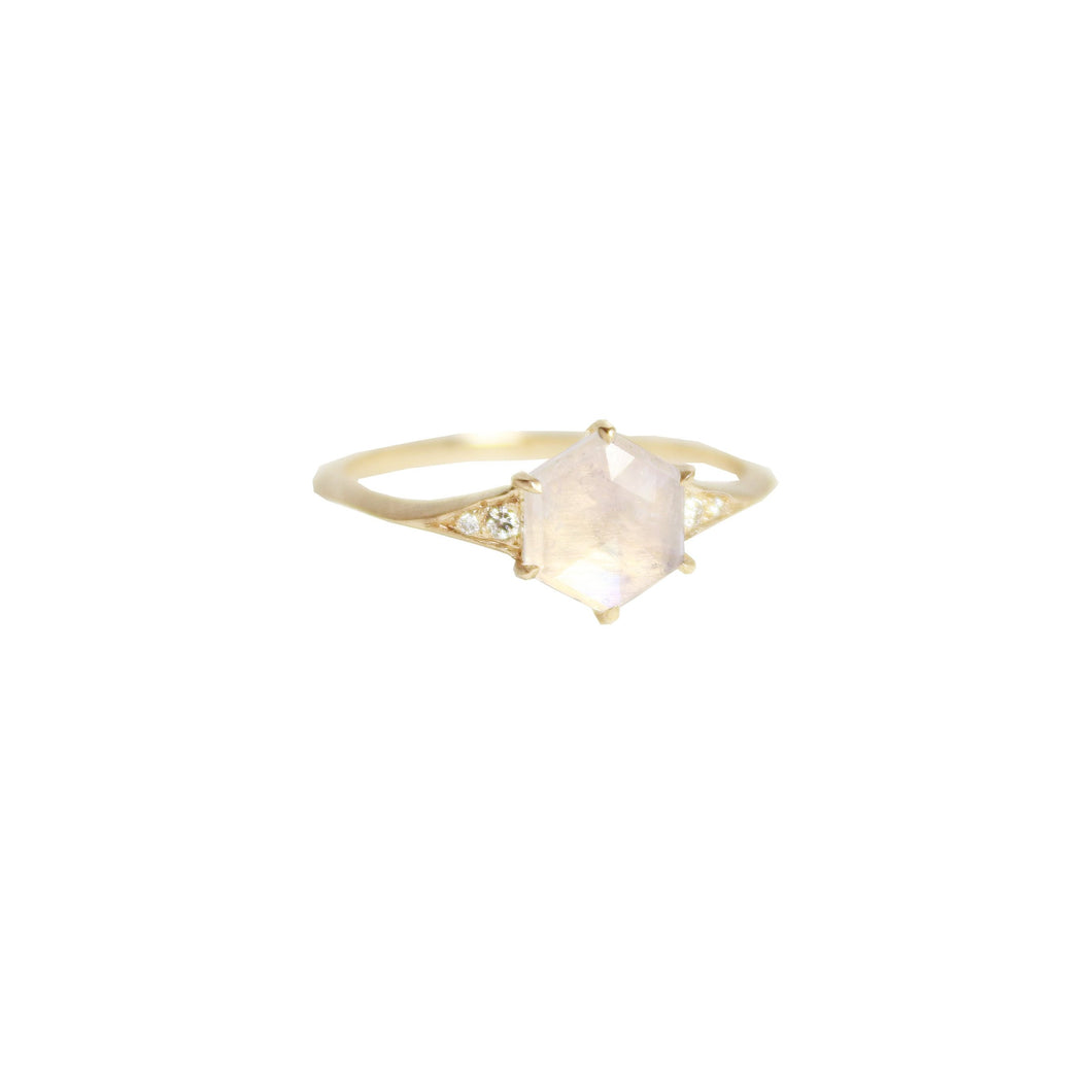 Moonstone Diamond Hexagon Ring