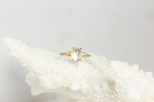 Moonstone Diamond Cabochon Ring