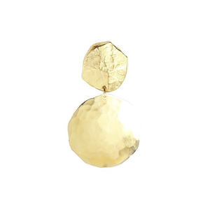 Gold Stud & Disc Drop Earrings
