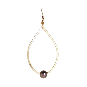 Oval Black Pearl Earrings