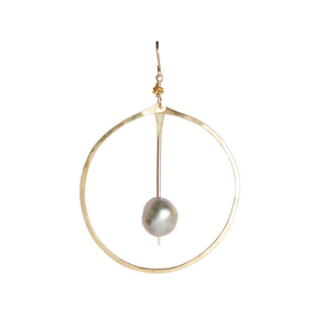 Gold Pearl Circle Earrings