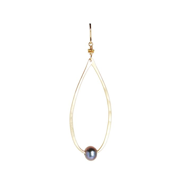 Teardrop Black Pearl Earrings