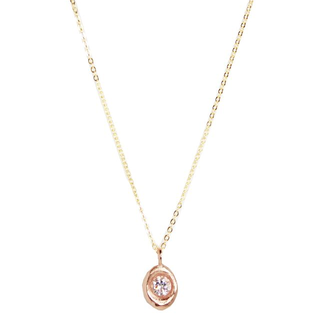 Rose Gold Round CZ Necklace