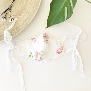 Lillian Face Mask - Vintage floral rose with lace trim (Free Shipping Included on all Merritt Accessories Too)