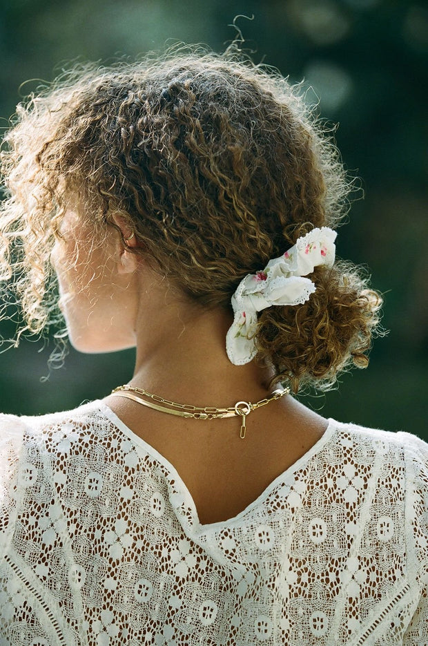 Penelope Bow Tie Lace Scrunchy - Vintage Florals (Shipping Included / Multiple Colors) 1