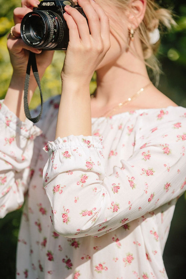 Summertime Floral Top - Dainty Red Floral 1
