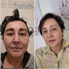 before and after dark make up