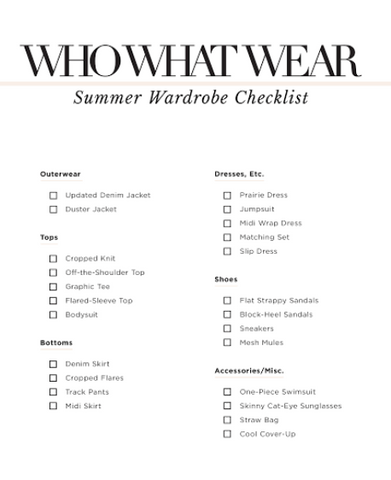 Summer wardrobe list