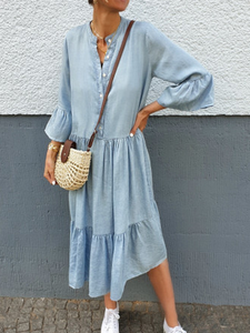 Blue Casual Cotton-Blend Dresses