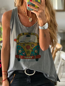 Sleeveless Casual O-Neck Shirts & Tops