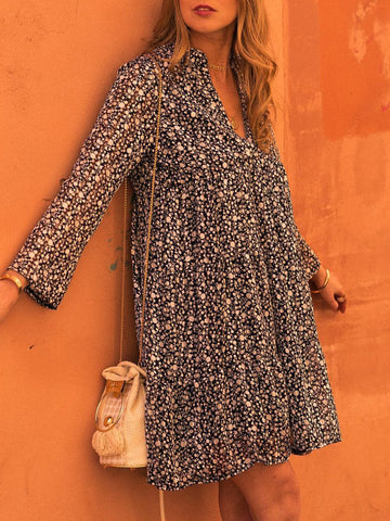 Flower Holiday Long Sleeve Dresses