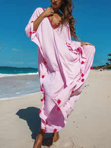 Plus Size Women Long  Sleeve  V-neck Solid Loose Casual  Maxi   Dress