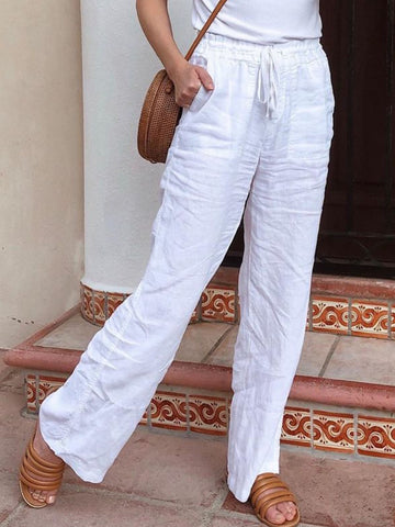White Plus Size Casual Solid Pockets Pants