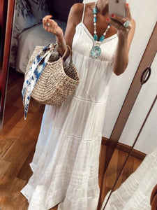 White Holiday V Neck Solid Dresses