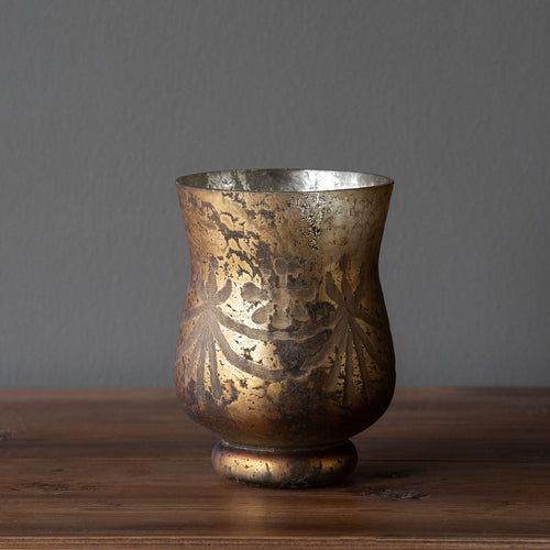Antique Bronze Etched Pattern Hurricane