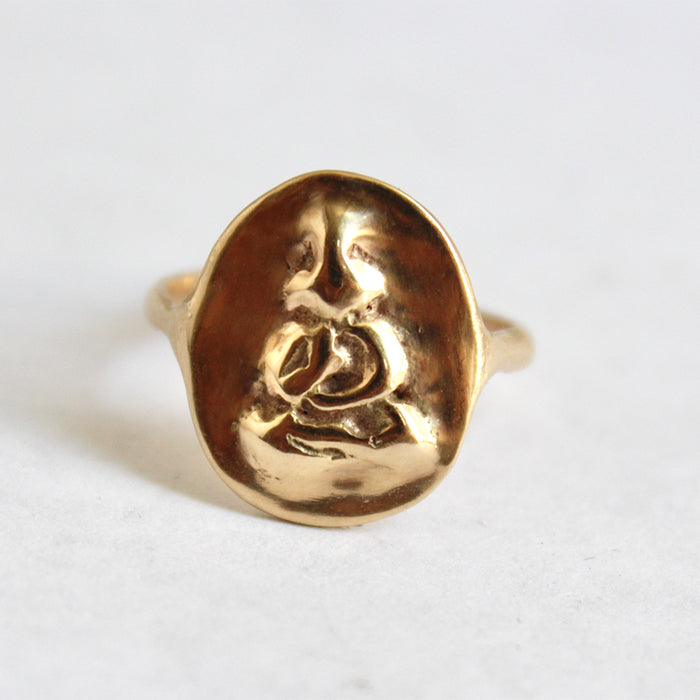 Double sided Buddha coin ring