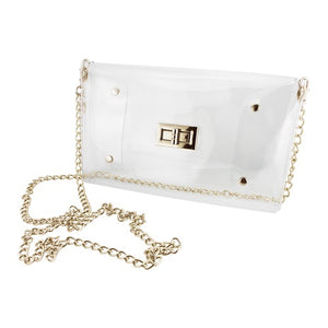 Envelope Clear Crossbody with Gold Accents