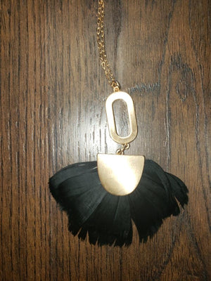 Black Feather and Gold Necklace