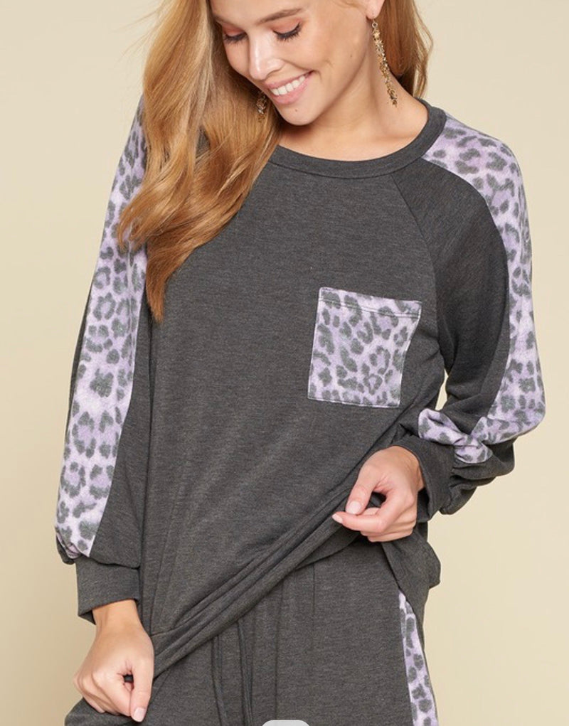 Solid French Terry Pullover with Animal Print
