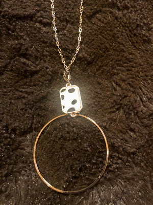 White Cheetah w/Gold circle Drop Necklace
