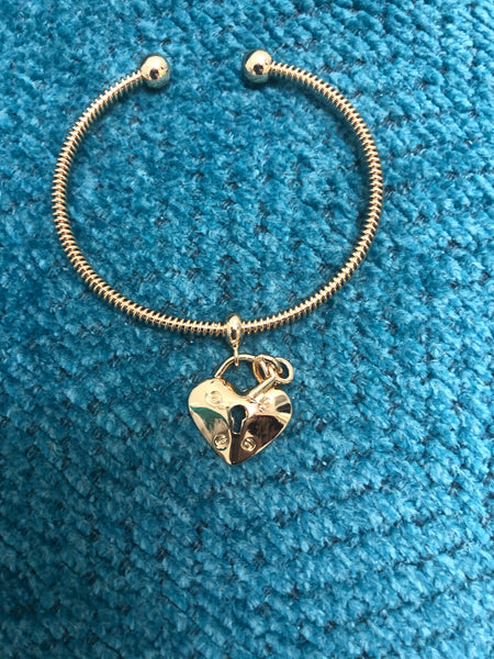 Cuff Bracelet with Locket and Key Charms