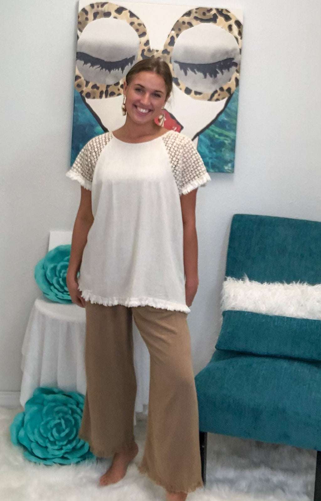 Frayed Wide Leg Pants
