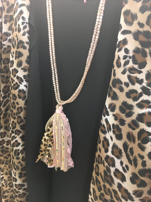 Make me blush beaded Tassel necklace