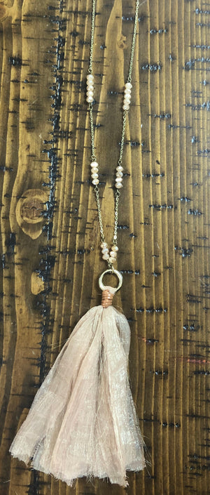 Long Fabric Tassel Necklace with accent beads