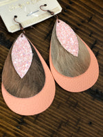 Printed Triple Layered Teardrop Earrings