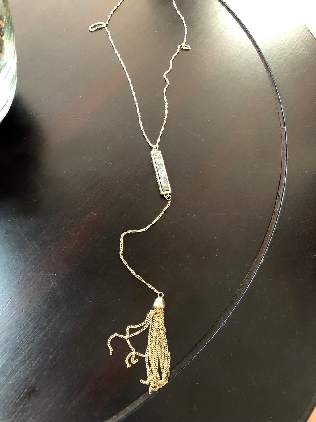 Stone-Bar Drop Necklace