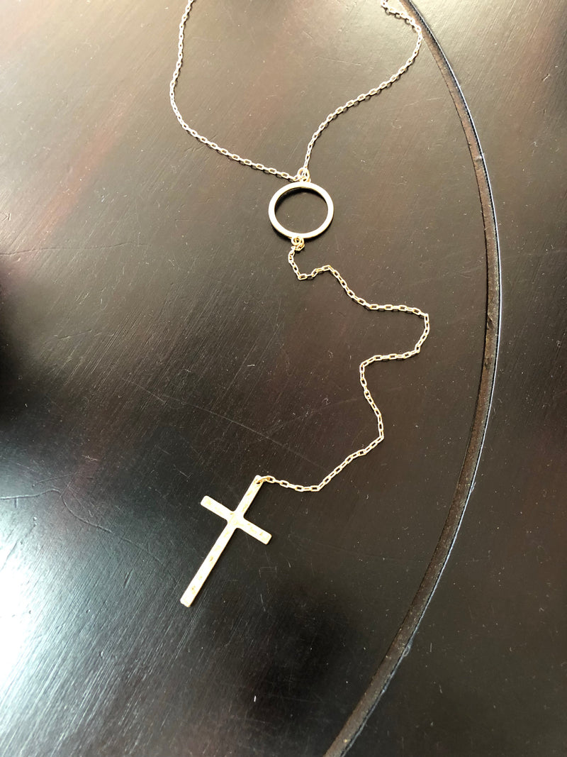 Cross and hoop necklace