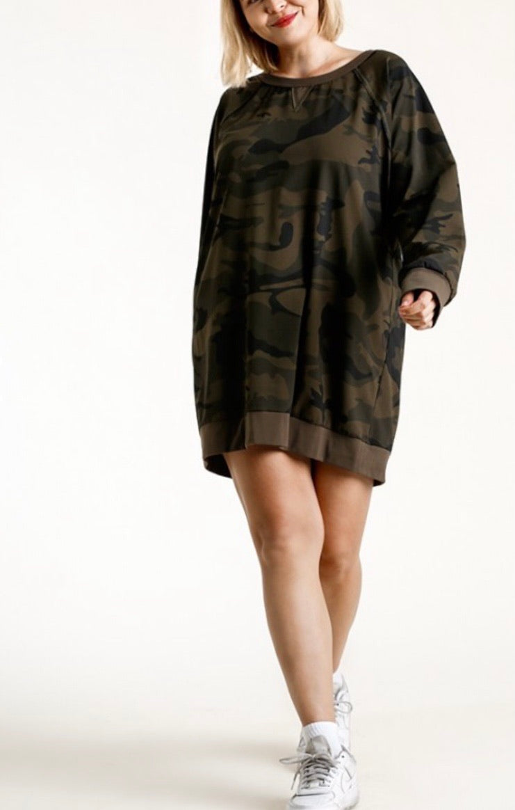 Plus Camo French Terry Dress