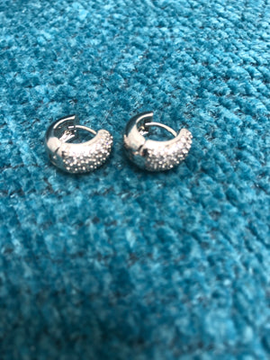 Huggie Earrings with CZ Stones