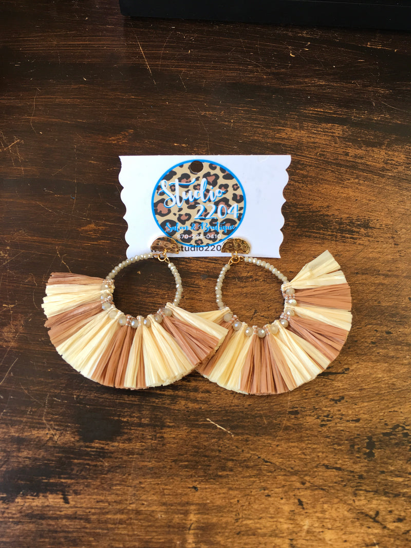 Fall Y'all Raffia Earrings