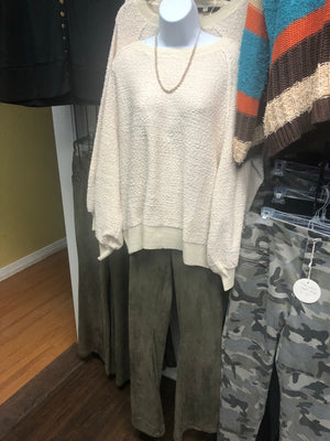 Plus Suede Flare Pants